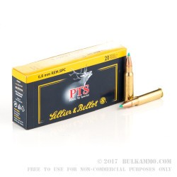 20 Rounds of 6.8 Remington SPC  Ammo by Sellier & Bellot - 110 gr Polymer Tipped Spitzer