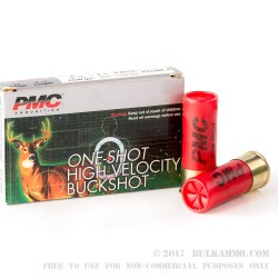 "5 Rounds of 12ga Ammo by PMC - 2-3/4"" 1 1/4 ounce #4 Buck"