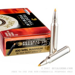 20 Rounds of .300 Win Mag Ammo by Federal Vital-Shok - 180gr Trophy Bonded Tip