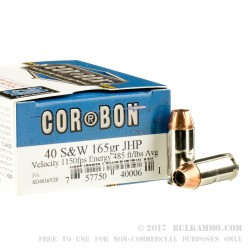 20 Rounds of .40 S&W Ammo by Corbon - 165gr JHP