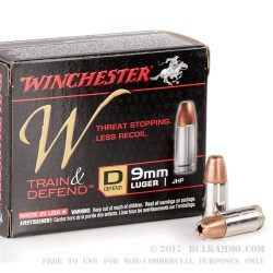 200 Rounds of 9mm Ammo by Winchester W Train & Defend - 147gr JHP