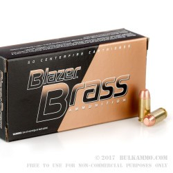 50 Rounds of .40 S&W Ammo by Blazer Brass - 180gr FMJ