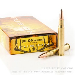 20 Rounds of 30-06 Springfield Ammo by Federal - 150gr Fusion