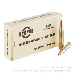 20 Rounds of 5.56x45mm Ammo by Prvi Partizan - 55gr FMJBT