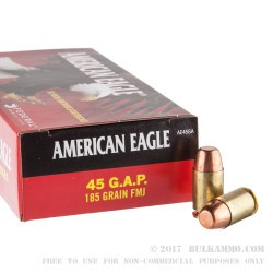 50 Rounds of .45 GAP Ammo by Federal American Eagle - 185gr TMJ