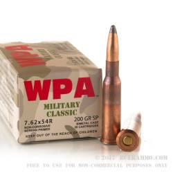 20 Rounds of 7.62x54r Ammo by Wolf WPA Military Classic  - 200gr SP