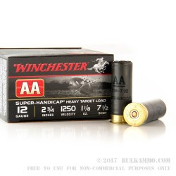 250 Rounds of 12ga Ammo by Winchester AA Super Handicap - 1 1/8 ounce #7 1/2 shot