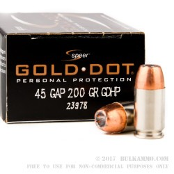 20 Rounds of .45 GAP Ammo by Speer - 200gr JHP
