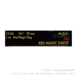 "5 Rounds of 12ga Ammo by Brenneke Red Magic - 2-3/4"" 1 ounce Sabot Slug"