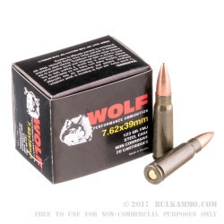 1000 Rounds of 7.62x39mm Ammo by Wolf - 123gr FMJ