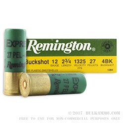 5 Rounds of 12ga Ammo by Remington -  #4 Buck