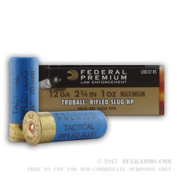 5 Rounds of 12ga Ammo by Federal Premium Tactical LE - 1 ounce Rifled Slug
