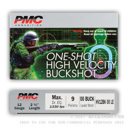 250 Rounds of 12ga LE HV Ammo by PMC -  00 Buck