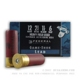 25 Rounds of 12ga Ammo by Federal -  #6 shot