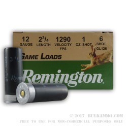 250 Rounds of 12ga Ammo by Remington - 1 ounce #6 shot