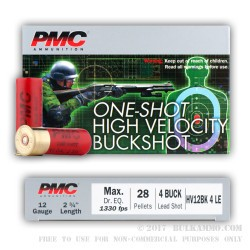 250 Rounds of 12ga Ammo by PMC -  HV LE #4 Buck