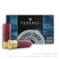 "5 Rounds of 12ga 2-3/4"" Ammo by Federal Power-Shok -  #4 Buck"