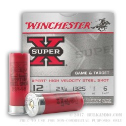 250 Rounds of 12ga Ammo by Winchester - 1 ounce #6 Shot (Steel)