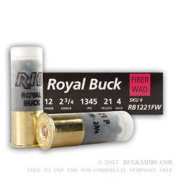250 Rounds of 12ga Ammo by Rio Ammunition -  #4 Buck - 21 Pellet - Fiber Wad
