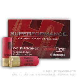 10 Rounds of 12ga Ammo by Hornady Superformance -  00 Buck
