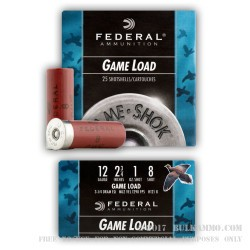 "25 Rounds of 12ga Ammo by Federal Game-Shok - 2-3/4"" 1 ounce #8 shot"