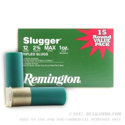 15 Rounds of 12ga Ammo by Remington - 1 ounce Rifled Slug