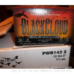 "250 Rounds of 12ga 3"" Ammo by Federal Black Cloud - 1 1/4 ounce #2 Shot (Steel)"