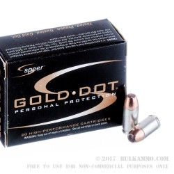 20 Rounds of .380 ACP Ammo by Speer - 90gr JHP