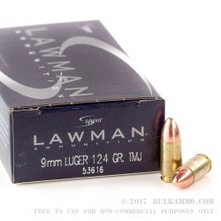 50 Rounds of 9mm Ammo by Speer - 124gr TMJ