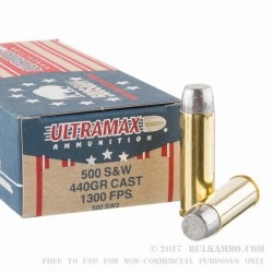 20 Rounds of .500 S&W Mag Ammo by Ultramax - 440 Grain Hard Cast