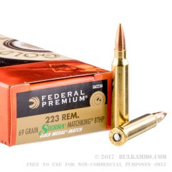 20 Rounds of .223 Ammo by Federal Sierra Match King - 69gr HPBT