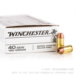50 Rounds of .40 S&W Ammo by Winchester - 180gr JHP Bonded