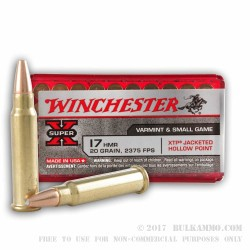50 Rounds of .17HMR Ammo by Winchester - 20gr JHP