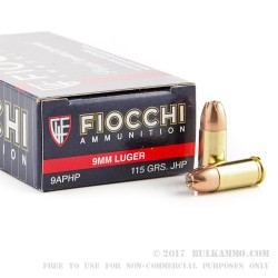 50 Rounds of 9mm Ammo by Fiocchi - 115gr JHP