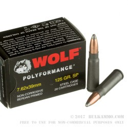 20 Rounds of 7.62x39mm Ammo by Wolf WPA - 125gr SP