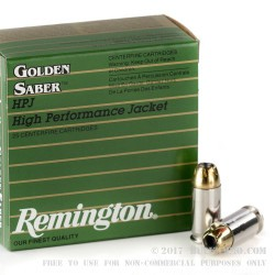 500  Rounds of .45 ACP Ammo by Remington Golden Saber  - 185gr JHP
