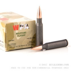 500  Rounds of .308 Win Ammo by Wolf - 145gr FMJ