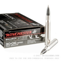 20 Rounds of 30-06 Springfield Ammo by Winchester Ballistic Silvertip - 150gr Polymer Tipped