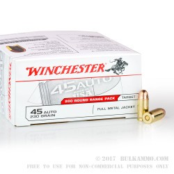 200 Rounds of .45 ACP Ammo by Winchester - 230gr FMJ