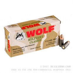 500 Rounds of 9mm Ammo by Wolf WPA Military Classic - 115gr FMJ