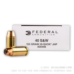 1000 Rounds of .40 S&W Ammo by Federal - 155gr JHP