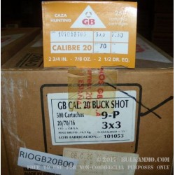 500 Rounds of 20ga Ammo by GB (Maxam) -  00 Buck