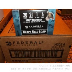250 Rounds of 20ga Ammo by Federal -  #6 shot