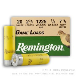 250 Rounds of 20ga Ammo by Remington - 7/8 ounce #7 1/2 shot
