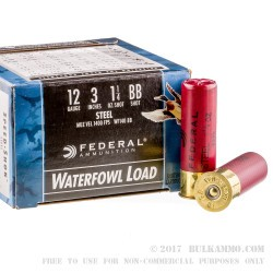 "250 Rounds of 12ga Ammo by Federal Speed-Shok - 3"" 1 1/4 ounce #BB Shot"
