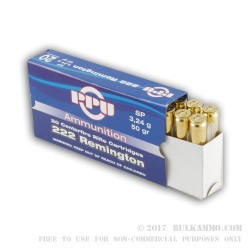 200 Rounds of .222 Rem Ammo by Prvi Partizan - 50gr SP