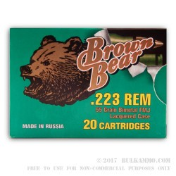 500  Rounds of .223 Ammo by Brown Bear - 55gr FMJ