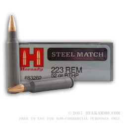 300 Rounds of .223 Steel Cased Match Ammo by Hornady in Plano Ammo Can - 52gr HPBT