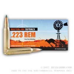 200 Rounds of .223 Ammo by ADI - 55gr Polymer Tipped Sierra BiltzKing