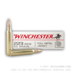 20 Rounds of .223 Ammo by Winchester - 62gr FMJ
